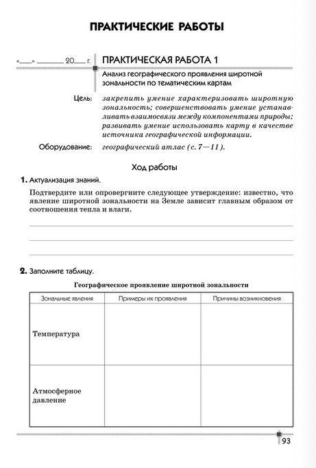 Готовые практические работы по географии 8 класс беларусь витченко