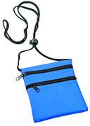 Нагрудный кошелек с 2-мя отделениями на молнии и прозрачным карманом (синий) — фото, картинка — 1