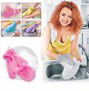 Варежка двухсторонняя для мытья посуды и уборки (желтая) — фото, картинка — 3