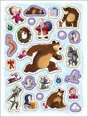 Маша и Медведь. 100 наклеек (голубая) — фото, картинка — 1